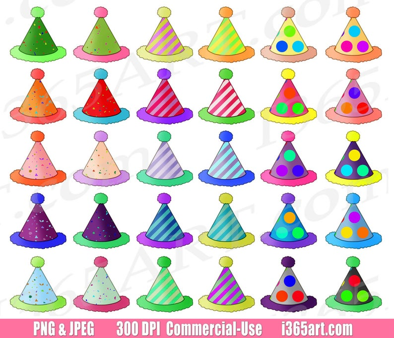 50% OFF Party Hats Clipart, Birthday Hats Clip Art, Birthday Party Hats,  Cute Kids Parties, Celebration, Invitations, Planners, PNG.
