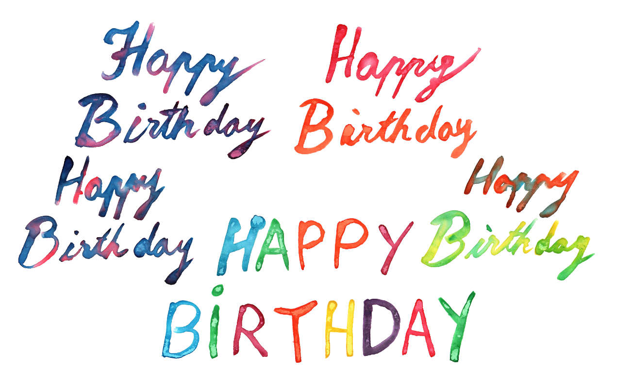 5 Happy Birthday Watercolor (PNG Transparent).