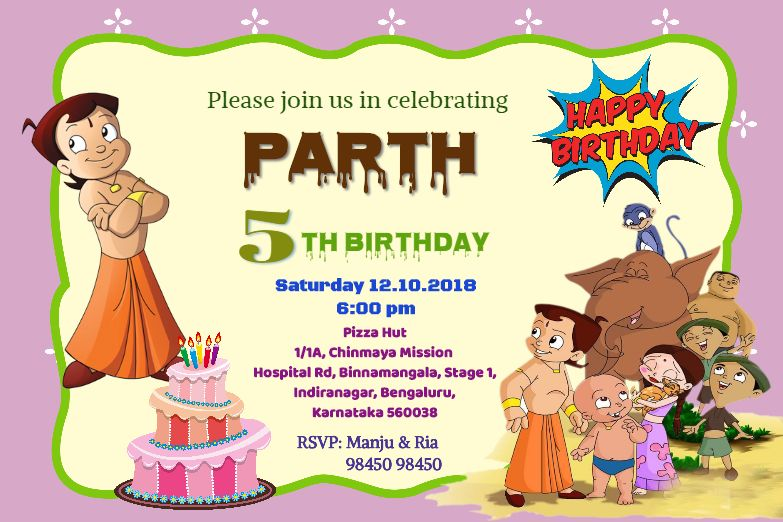 Invitation Card with Chhota Bheem.