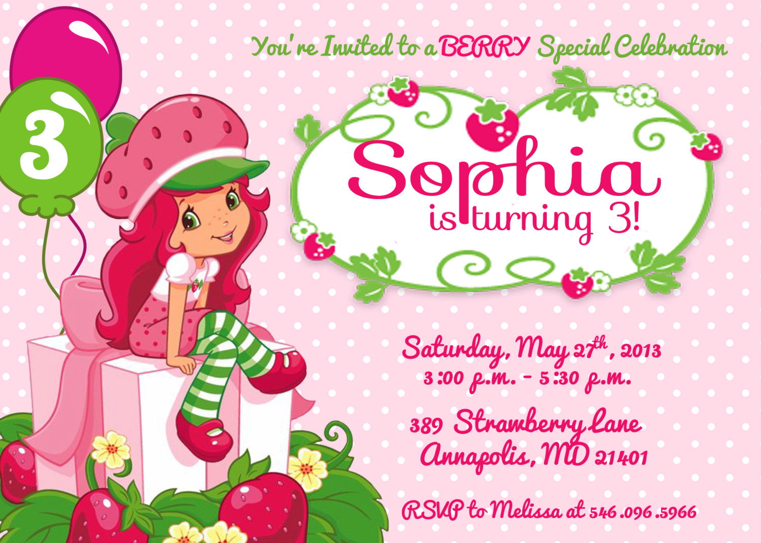 Strawberry Shortcake Birthday Clipart.