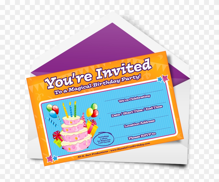 Horizontal Birthday Party Invitation.