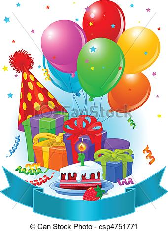 Vectors of Birthday gifts and decoration.
