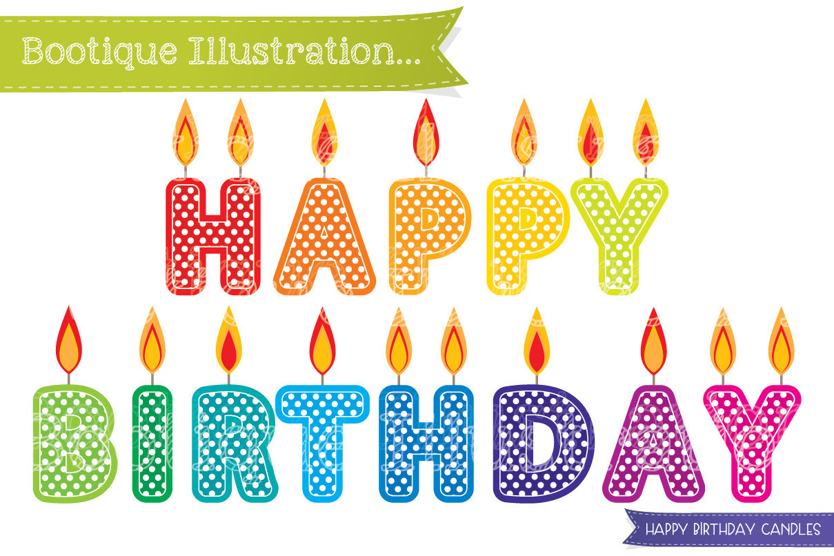 Happy Birthday Candles Clipart. Birthday Clipart. Candles Clip Art.