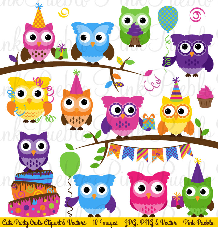 Cute Birthday Party Owl Clipart Clip Art Happy Birthday Owl.