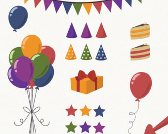 Purple and Green Birthday Clipart.