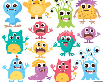 Items similar to Cute Monster Clipart Kids Birthday Party Digital.