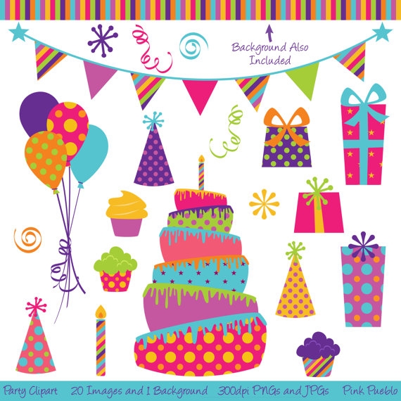 Party Clipart Clip Art, Birthday Cake Clipart Clip Art.