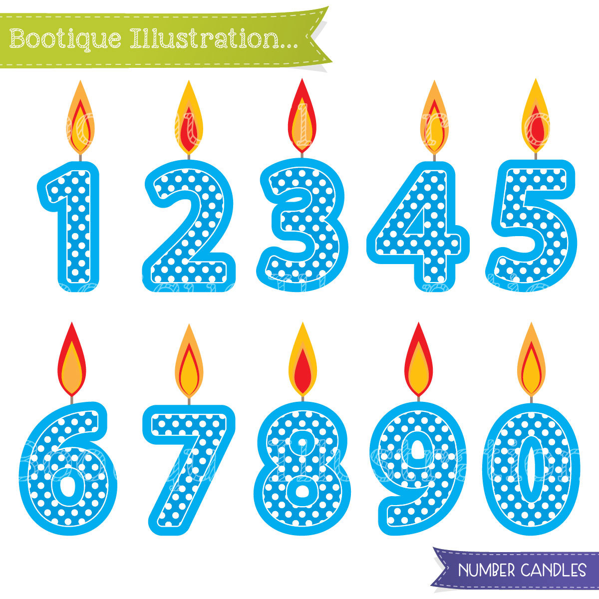 Blue Number Candles Clipart. Boys Birthday Clipart. Blue.