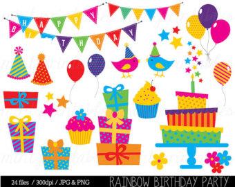 Items similar to 1st Birthday Clipart, Birthday Party Digital.