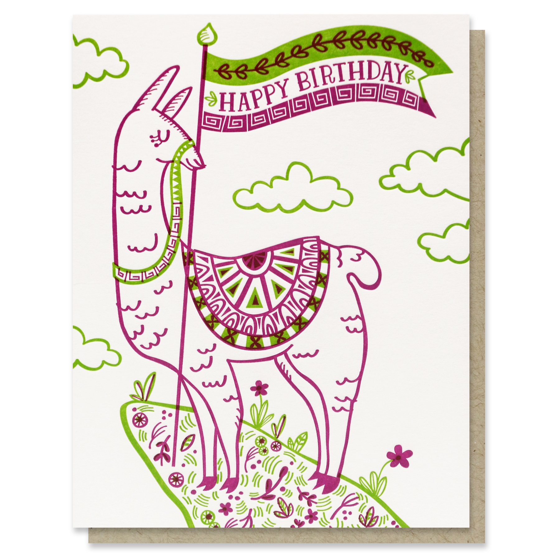 Happy Birthday Llama Card.