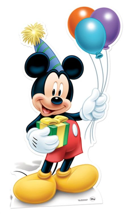 Mickey Mouse Holding Balloons.