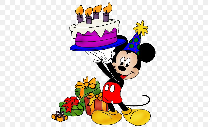 Mickey Mouse Birthday Cake Greeting & Note Cards Clip Art.