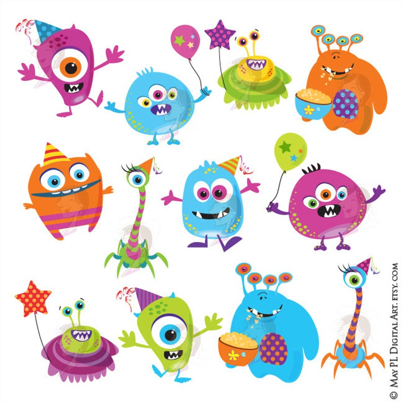 Little Monster Birthday Clipart Cute Monsters Party Silly Funny Png Clip  Art Scrapbook Craft Diy Invitation Printables Decor 10103.