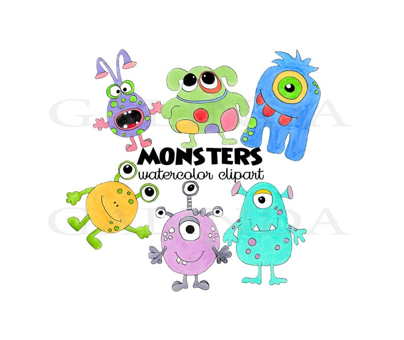 Monsters Clipart, Birthday Monsters, Colorful Monster Birthday, Cute  Monster Clip Art, Stickers, Baby shower, Kids, Watercolor Monster.