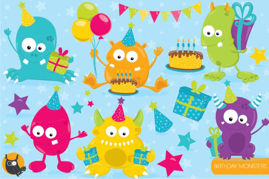 Birthday monster clipart.