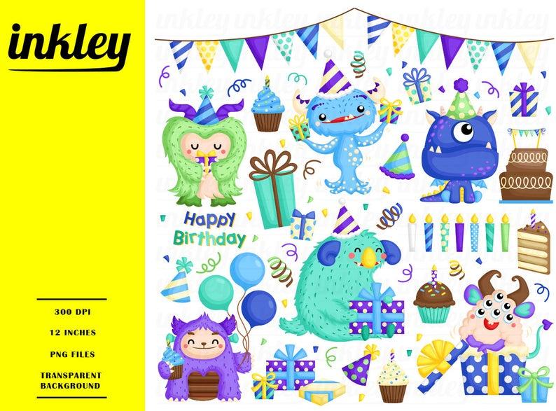 Birthday Monster Clipart, Monster Clip Art, Monster Png, Birthday Clipart,  Party Clipart, Cake Clipart, Balloon Clipart, Cute Clipart.