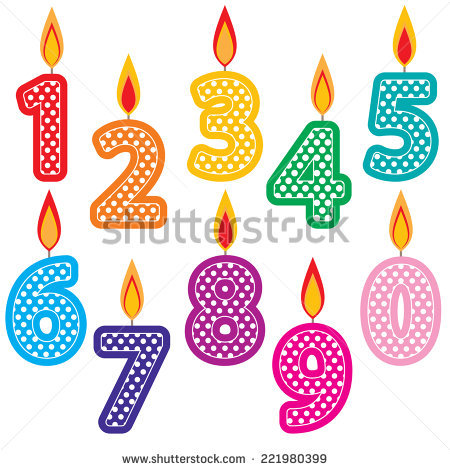 Birthday Candle Numbers Stock Images, Royalty.