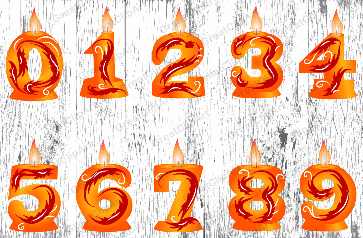 10 Orange Сandle Numbes, Birthday candle, Numbers clipart, orange.
