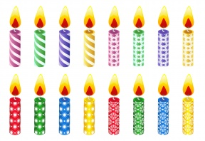 Birthday Number Candles Clip Art Set.
