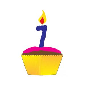 Cupcake With Number 7 Candle.