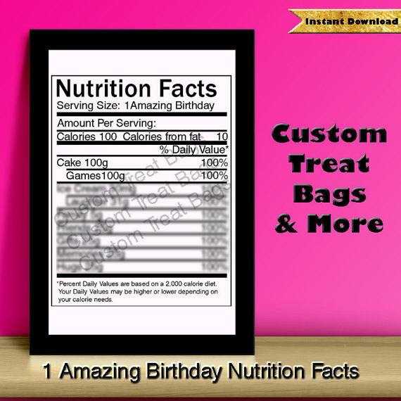 Birthday Nutrition Facts Label: For Custom Chip /Treat Bags.