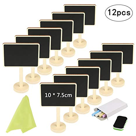 Mini Chalkboard KAKOO 12 Pcs Blackboards Message Board Sign Food Label  Place Cards with Stand for Wedding Birthday Parties Tabletop Signs Event.