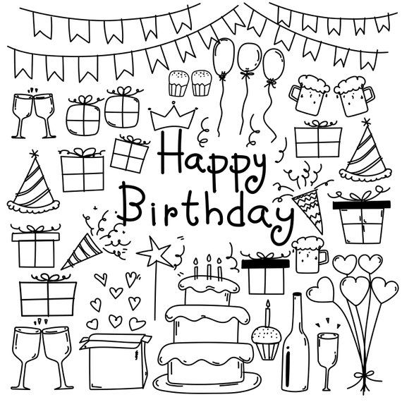 Hand Drawn Doodle Happy BirthDay Clipart, Happy Birthday.