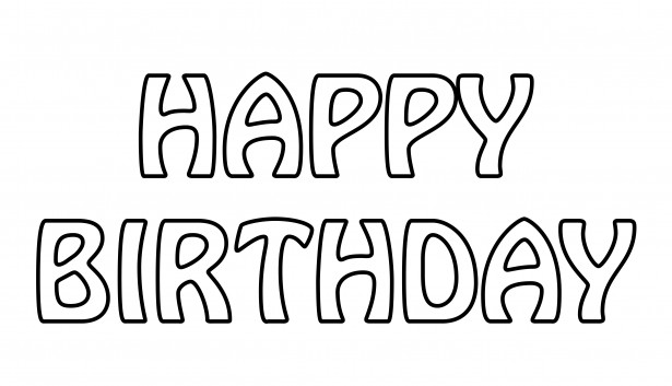 Happy Birthday Text Outline Free Stock Photo.