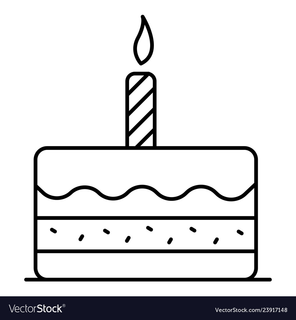 First birthday cake icon outline style.
