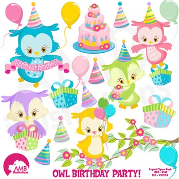 Birthday Clipart, Owl Clipart, Owls party Clip Art, AMB.