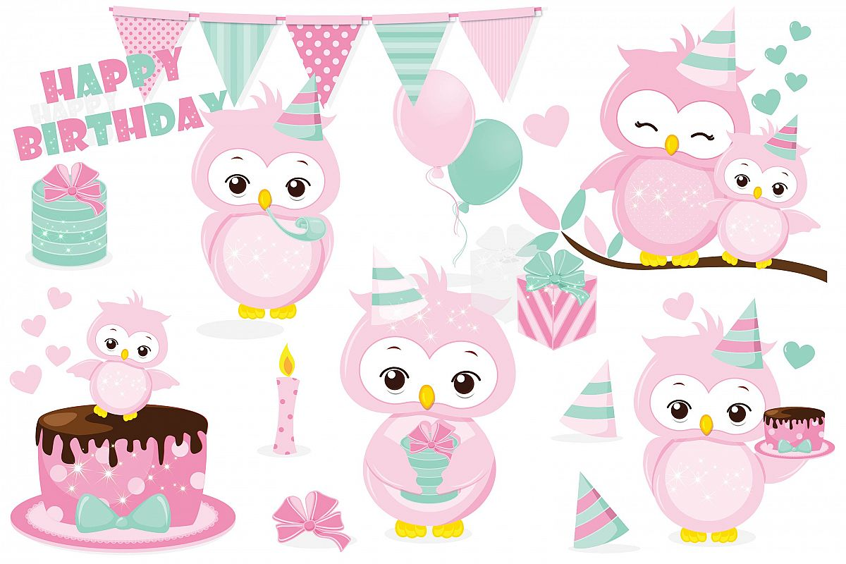 Birthday owl clipart, Birthday owl graphics.