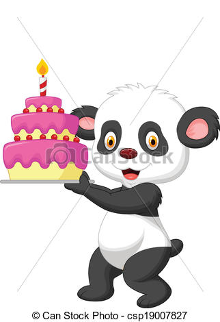 Clipart Vector of Baby Panda Birthday.