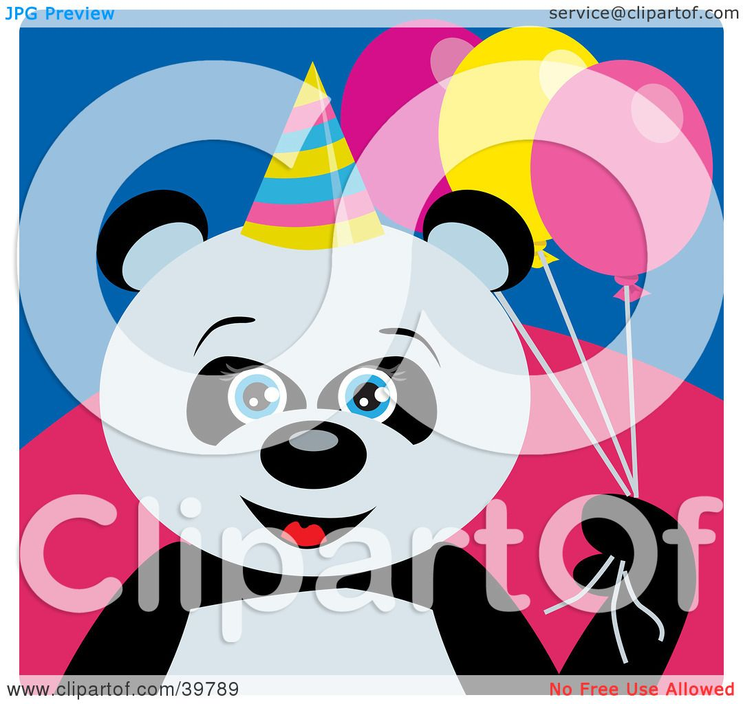 Clipart Illustration of a Blue Eyed Female Birthday Giant Panda.