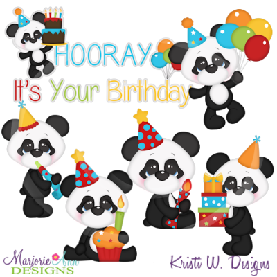 Baby Panda Birthday SVG Cutting Files Includes Clipart.
