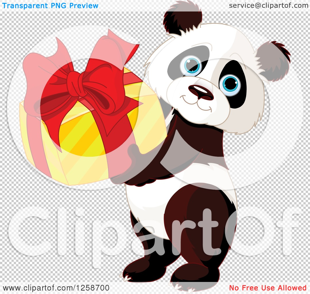 Clipart of a Cute Panda Holding a Birthday or Christmas Gift.