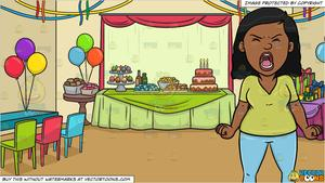 A Black Woman Screaming Out Loud and A Birthday Party Background.