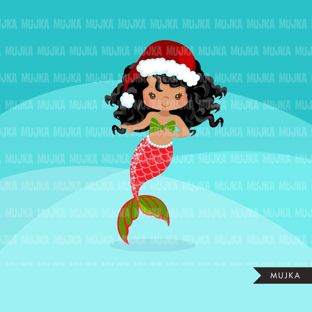 Christmas Mermaid clipart, holiday mermaid graphics, mermaid princess,  birthday party, african american girl, clip art.