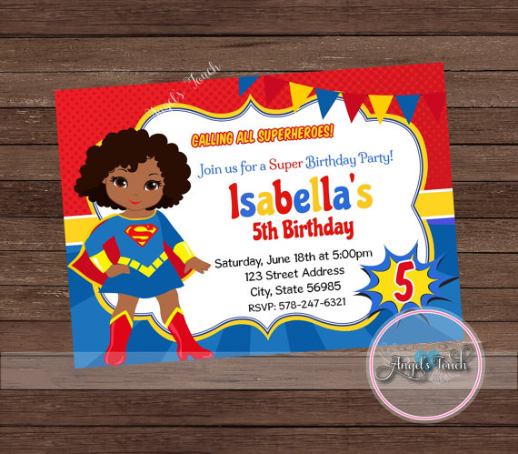 Super Girl Party Invitation, African American Supergirl.
