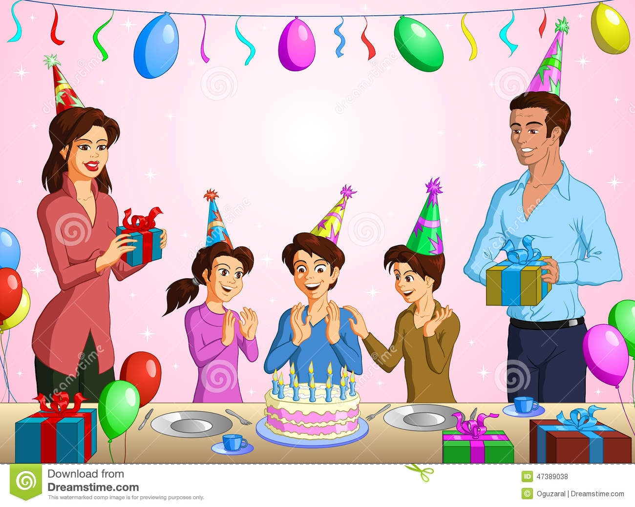 Family birthday party clipart.