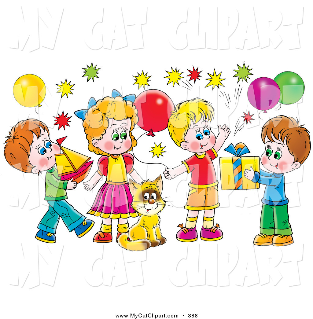 Childrens birthday party clip art.