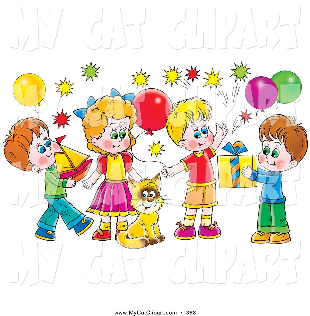 Childrens birthday party clip art.