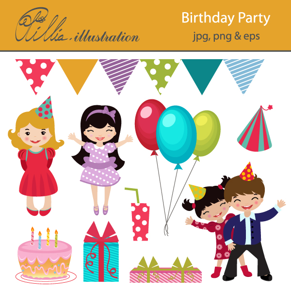 Birthday party clip art images.