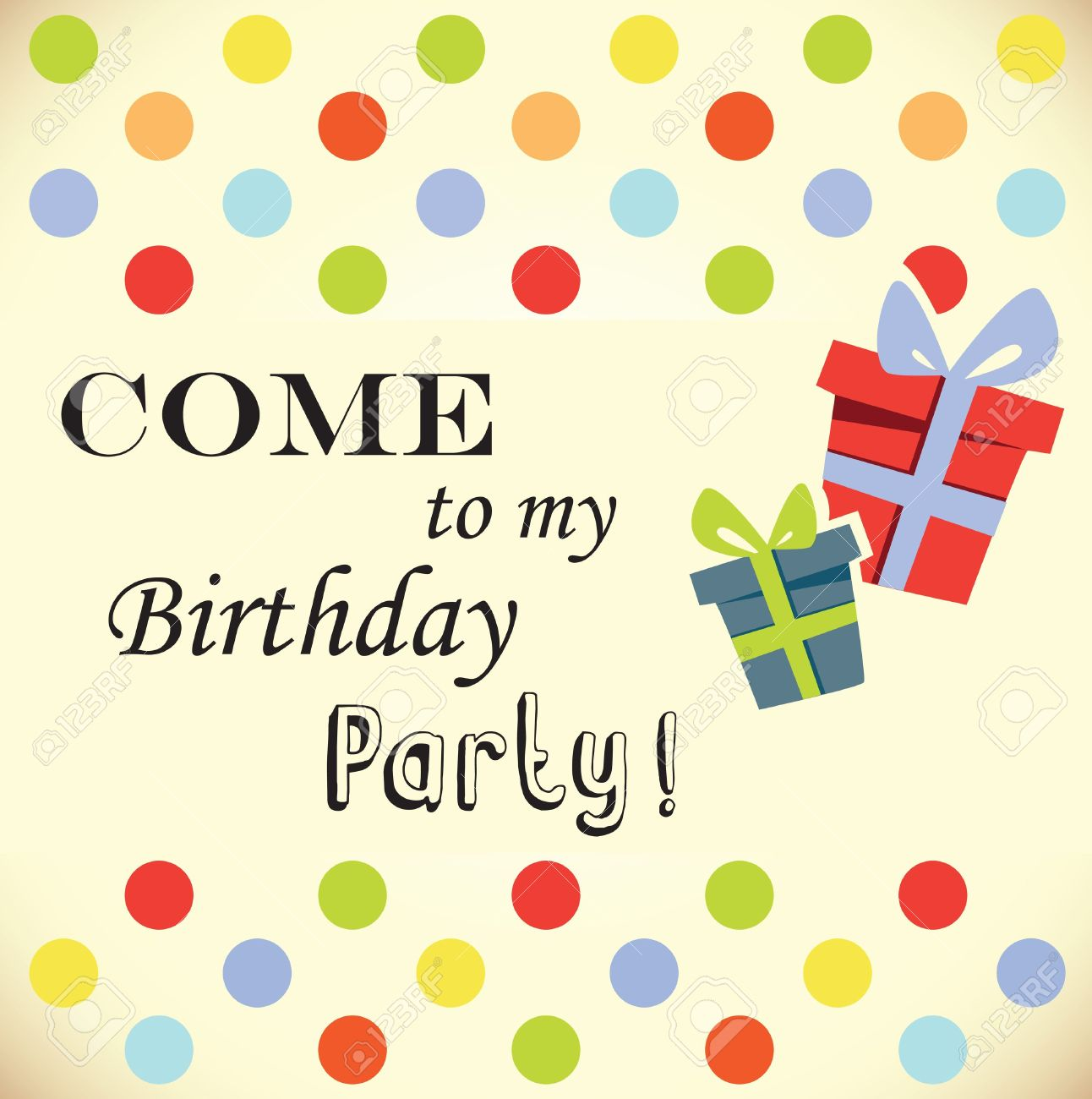 Birthday Party Invitation Card Royalty Free Cliparts, Vectors, And.