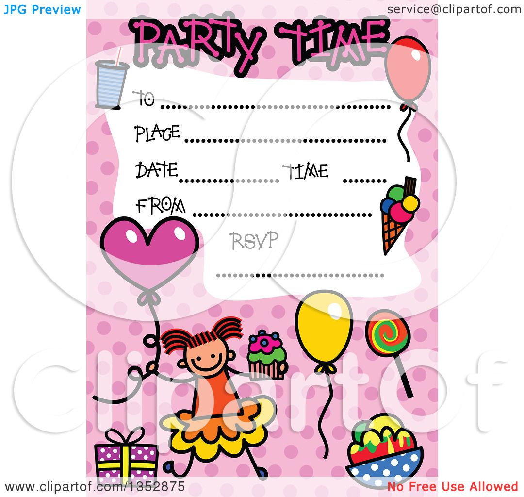 Clipart Of A Doodled Toddler Art Sketched Birthday Party