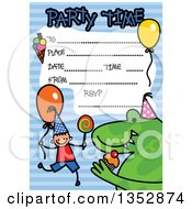 Clipart of a Doodled Toddler Art Sketched Birthday Party.