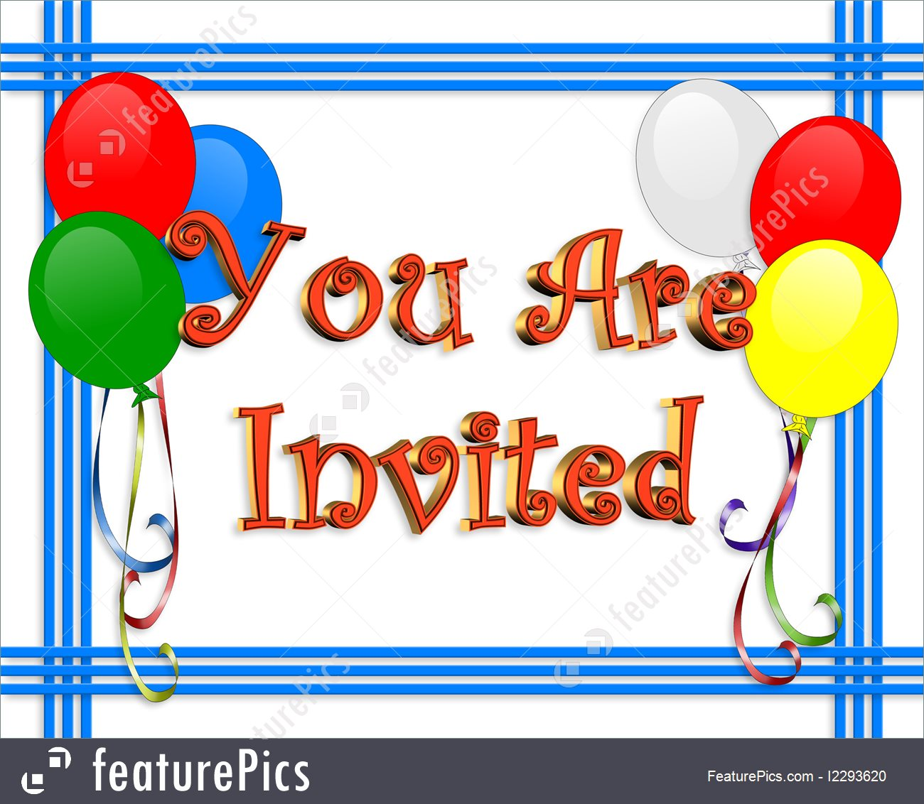 Birthday Party Invitation Balloons Border Illustration.