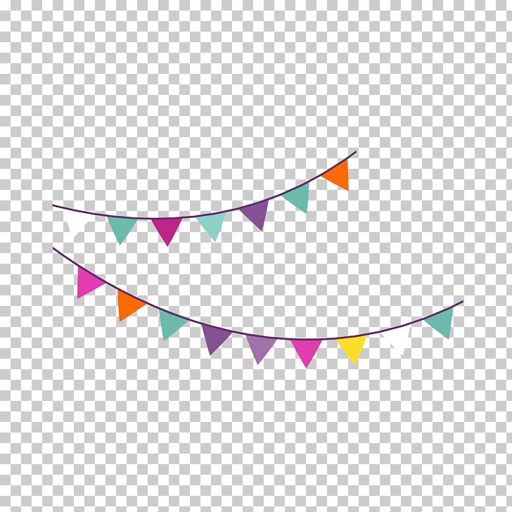 Birthday Party Icon, Cartoon birthday party hanging flag.