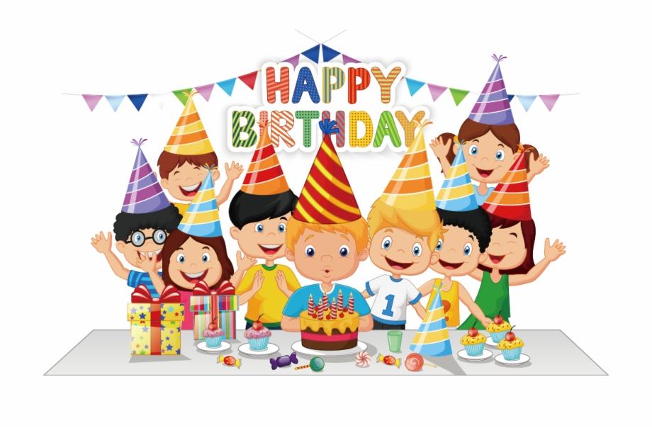 Birthday Cake Party Cartoon.