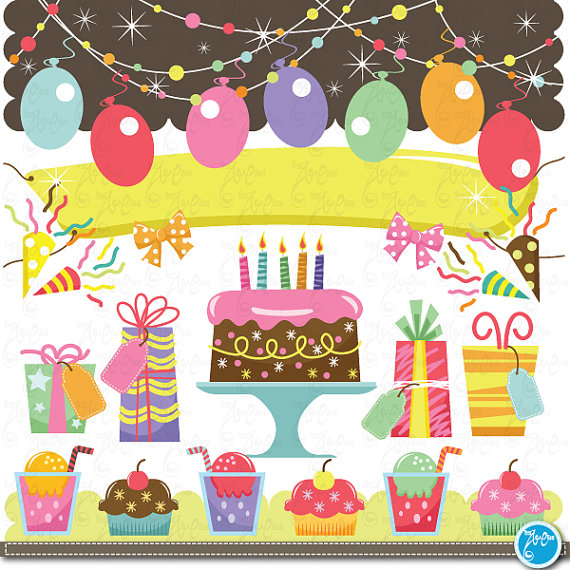 birthday Clip Art , baby birthday, party graphic kids party.