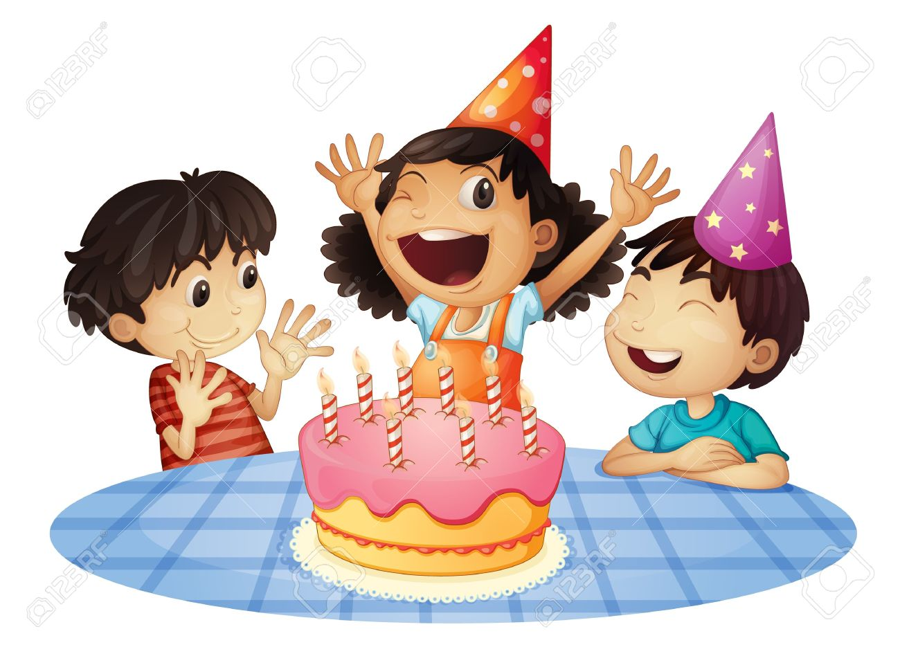 Young Kids At A Birthday Party Royalty Free Cliparts, Vectors, And.